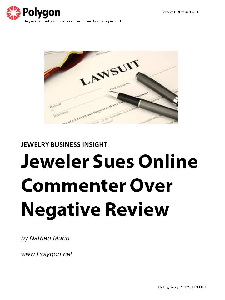 Jeweler Sues Online Commenter Over Negative Review