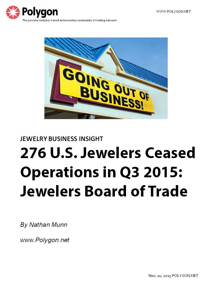 276 U.S. Jewelers Ceased Operations in Q3 2015: Jewelers Board of Trade